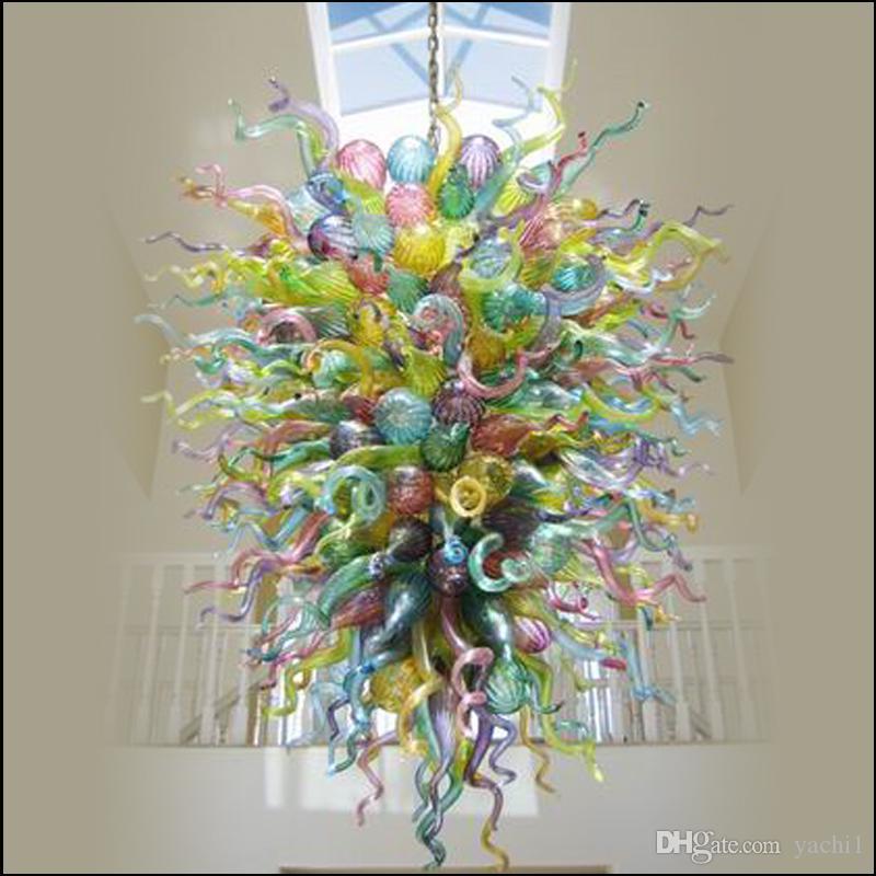 الصينية الصمام الثريا الفم الزجاج المنفوخ الثريا اضاءات الزجاج المنفوخ سلسلة قلادة مصابيح تخصيص لون الزجاج الثريا للبيع