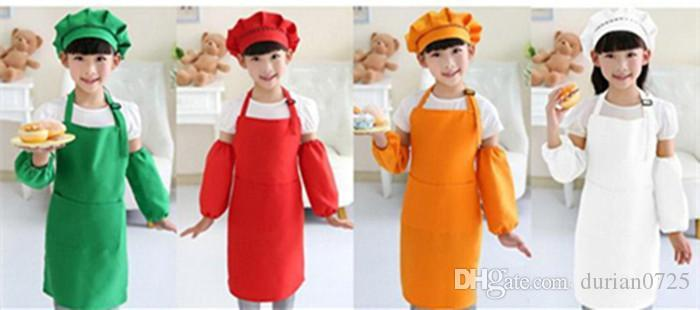 Kids Aprons Pocket Craft Cooking Baking Art Painting Kids Kitchen Dining Bib Children Aprons Kids Aprons 10 colors Free Shipping DHL FEDEX
