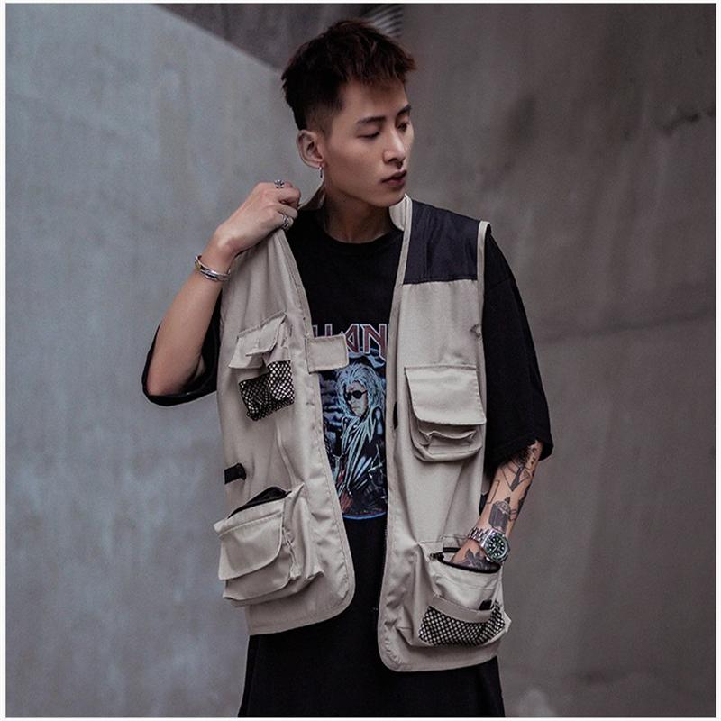Chalecos de hombre Hip Hop Cargo Hombres chalecos con bolsillos múltiples con cremallera con cremallera sin mangas Streetwear Tactical Chaleco masculino abrigos DS50852