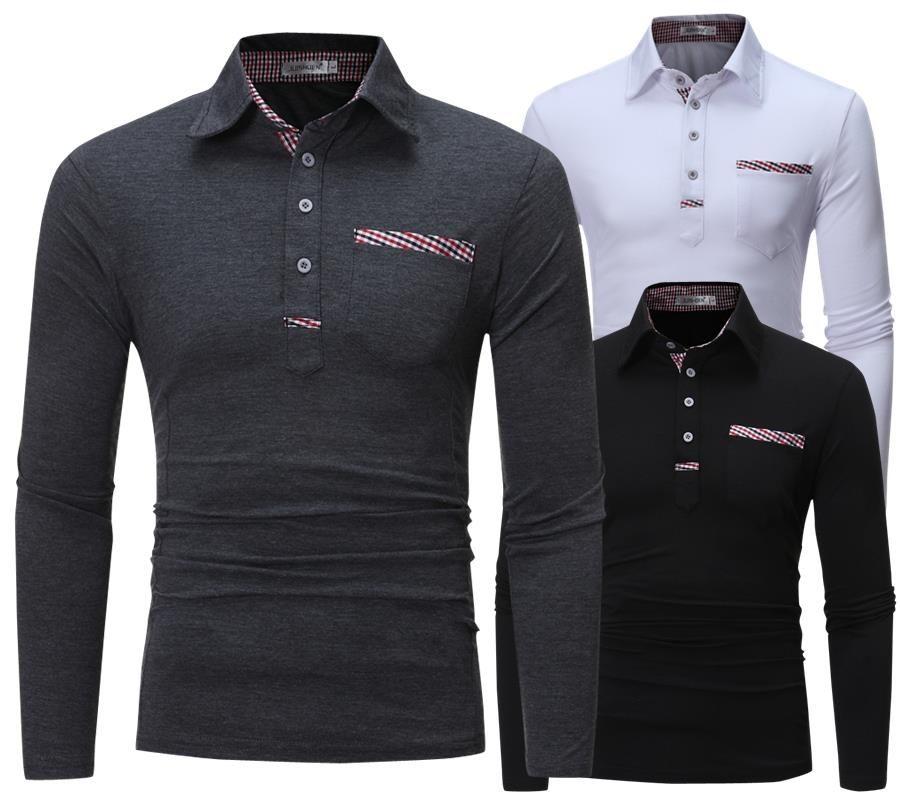 2020 роскошные моды мужские дизайнерские рубашки поло мужчины высококачественные половые рубашки футболки мужчина отвороты с длинными рукавами мужская одежда горячая распродажа T504