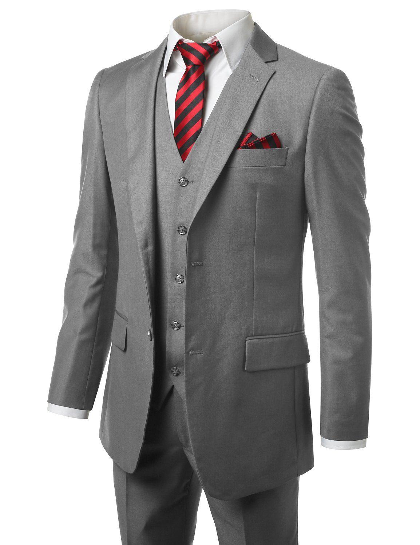 Сшитое Groomsmen Нотч Groom Tuxedos Серый Мужские костюмы Свадебные / Prom / Dinner Best Man Blazer (куртка + жилет + брюки + Tie) O597