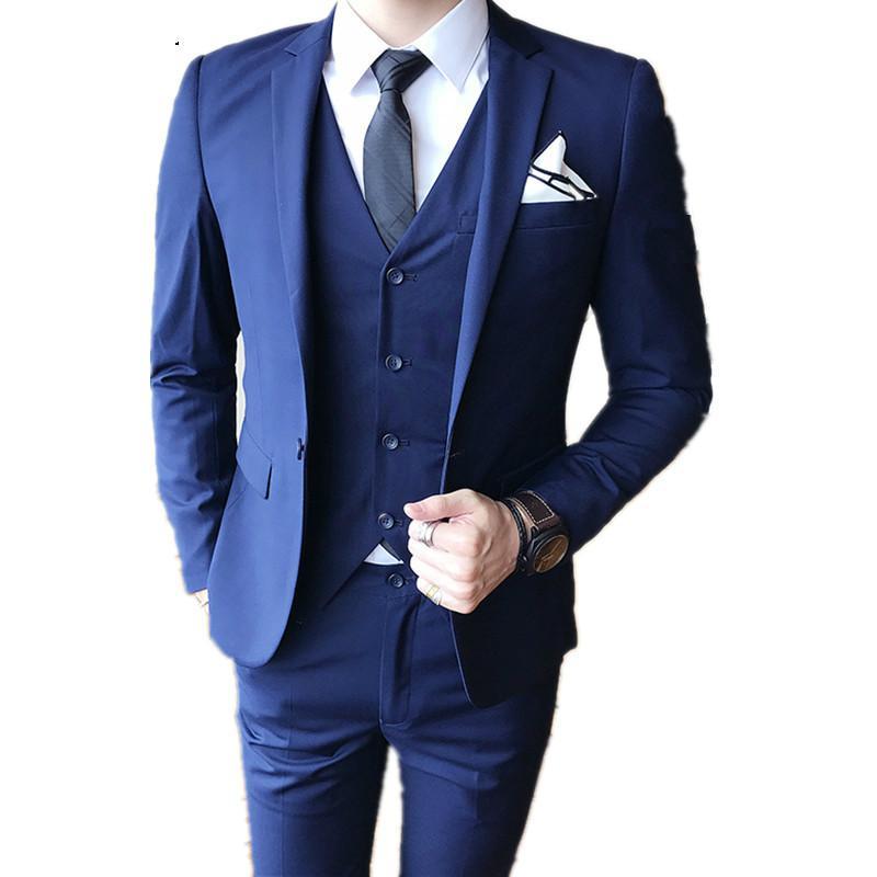 Men s tuxedo grooms Suits Fashion Boutique Solid Color Groom Mens Formal Business Suit 3 Piece Wedding Dress Formal Suits