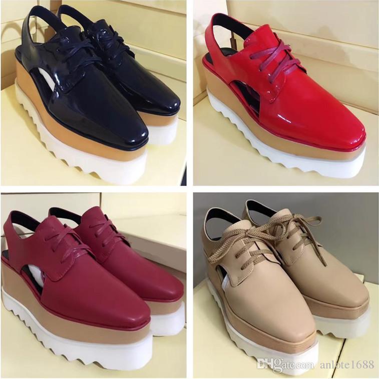 Stella McCartney Oxfords Schuhe Frauen Breathable Flats Schuh-Plattform-Gladiator-Sandalen aus Leder Rihanna Creepers Schuhe mit ursprünglichem Kasten
