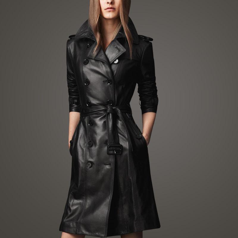 Autunno nero lungo giacca in pelle donne cappotto moda femminile a vento a vento doppio petto capispalla casual nero di grandi dimensioni