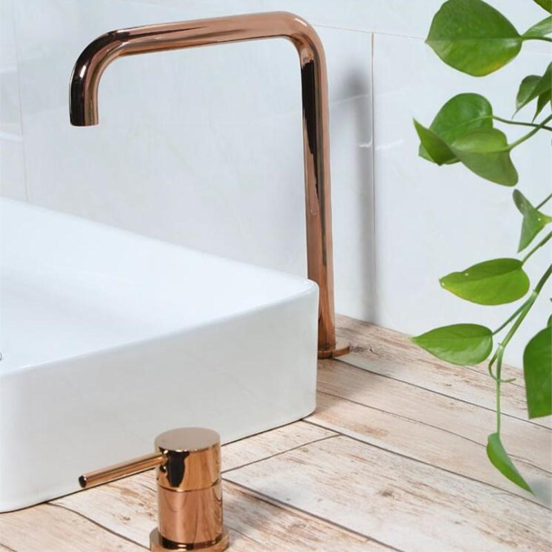 Solid brass bathroom hot and cold super long pipe two holes basin faucet bathroom faucet sink tap 360 rotating widespread basin