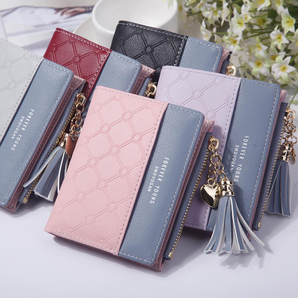 Portefeuille femme dames en cuir PU Sacs à main d'embrayage Moraillon courte carte Zipper Portefeuilles Femme Tassel Coin Pocket Carteras