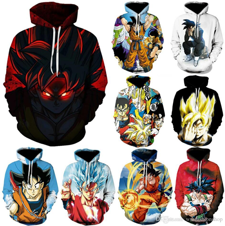 Mens womens 3D Hoodies 20styles 2019 Newest Anime Dragon Ball Z Super Saiyan Hooded Sweatshirts Goku Vegeta 3D Pullovers