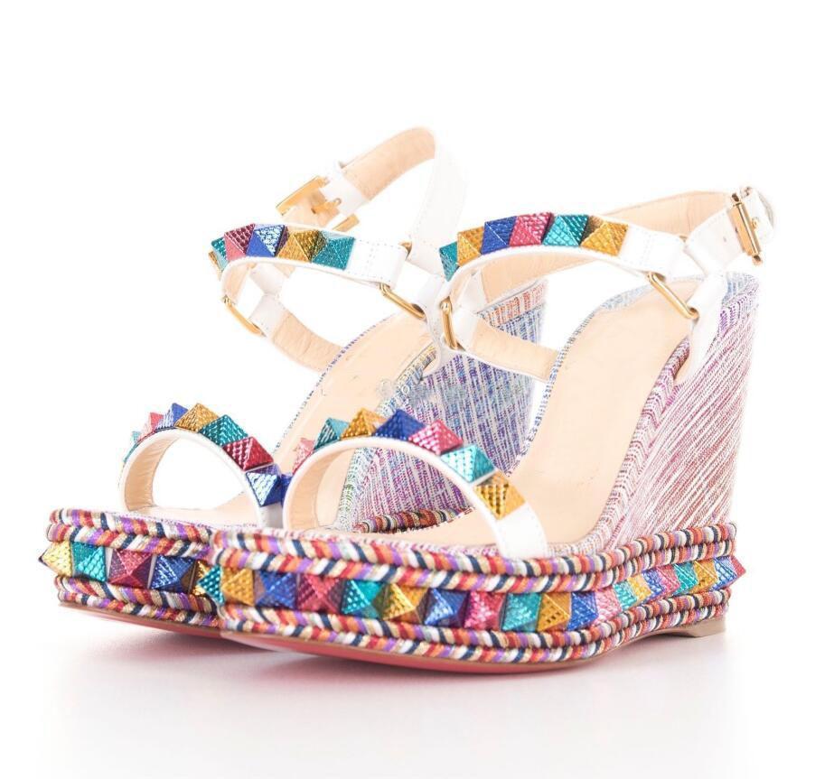 [Con] scatola di lusso di fondo signore gladiatore sandali rossi Pyraclo Zeppe Tacchi alti sexy Studs cinturino alla caviglia Platfrom Pompe - festa di nozze