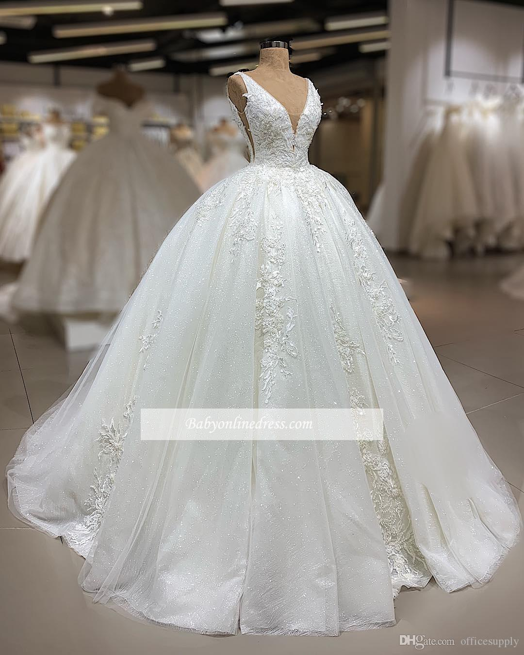 discount luxury cathedral train ball gown wedding dresses 2019 sexy v neck  backless sleeveless bridal gowns crystal lace wedding gowns vestidos