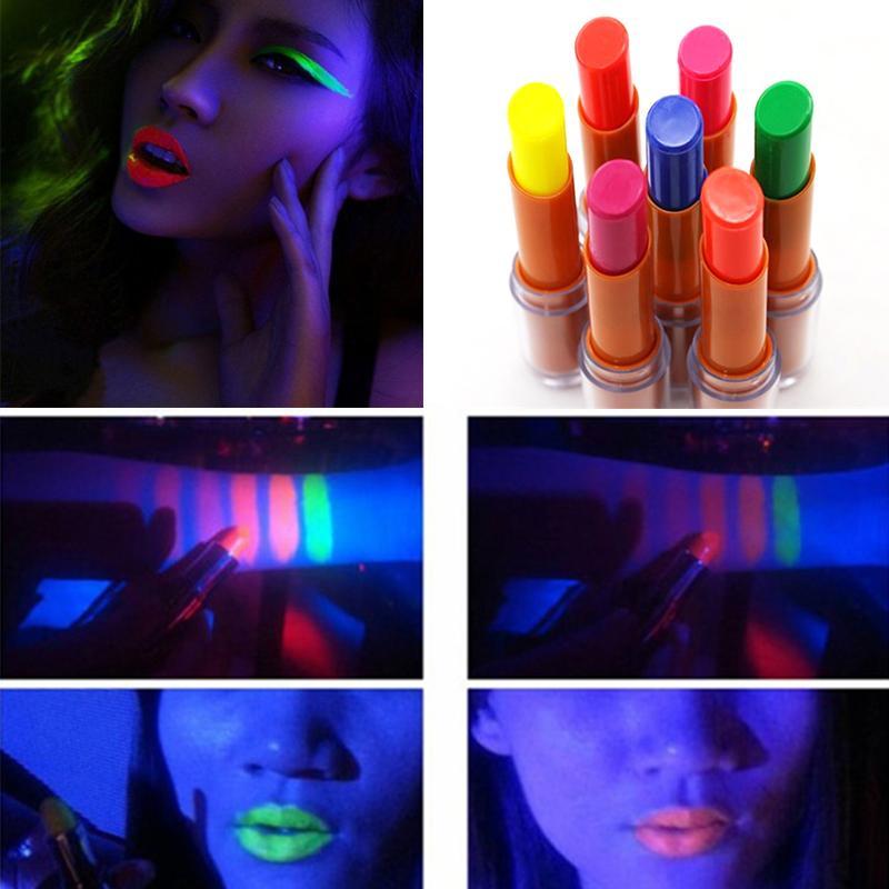 7 Цветов Флуоресцентная Помада Светящийся Губная Помада Batom Glow In The Dark Блеск для Губ Для Вечеринки Бар Ночной Клуб Косметика Для Губ Косметика