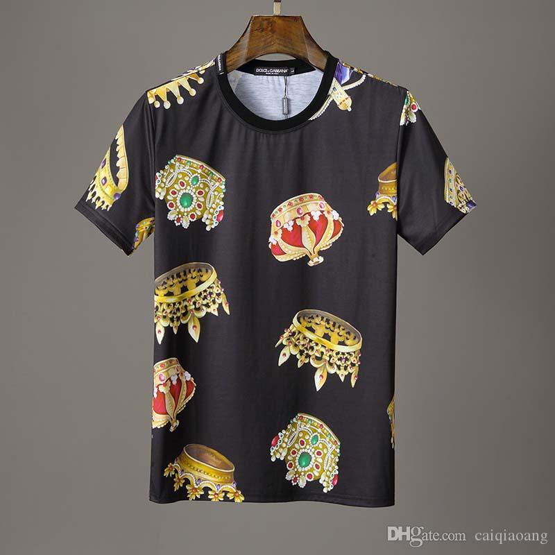 Kurzarm-T-Shirt Art und Weise Europa und die Flut Marke 2019 Sommer Vereinigten Staaten Rundhalsausschnitt Stereo Digitaldruck Halbhülse Hemd Hemd