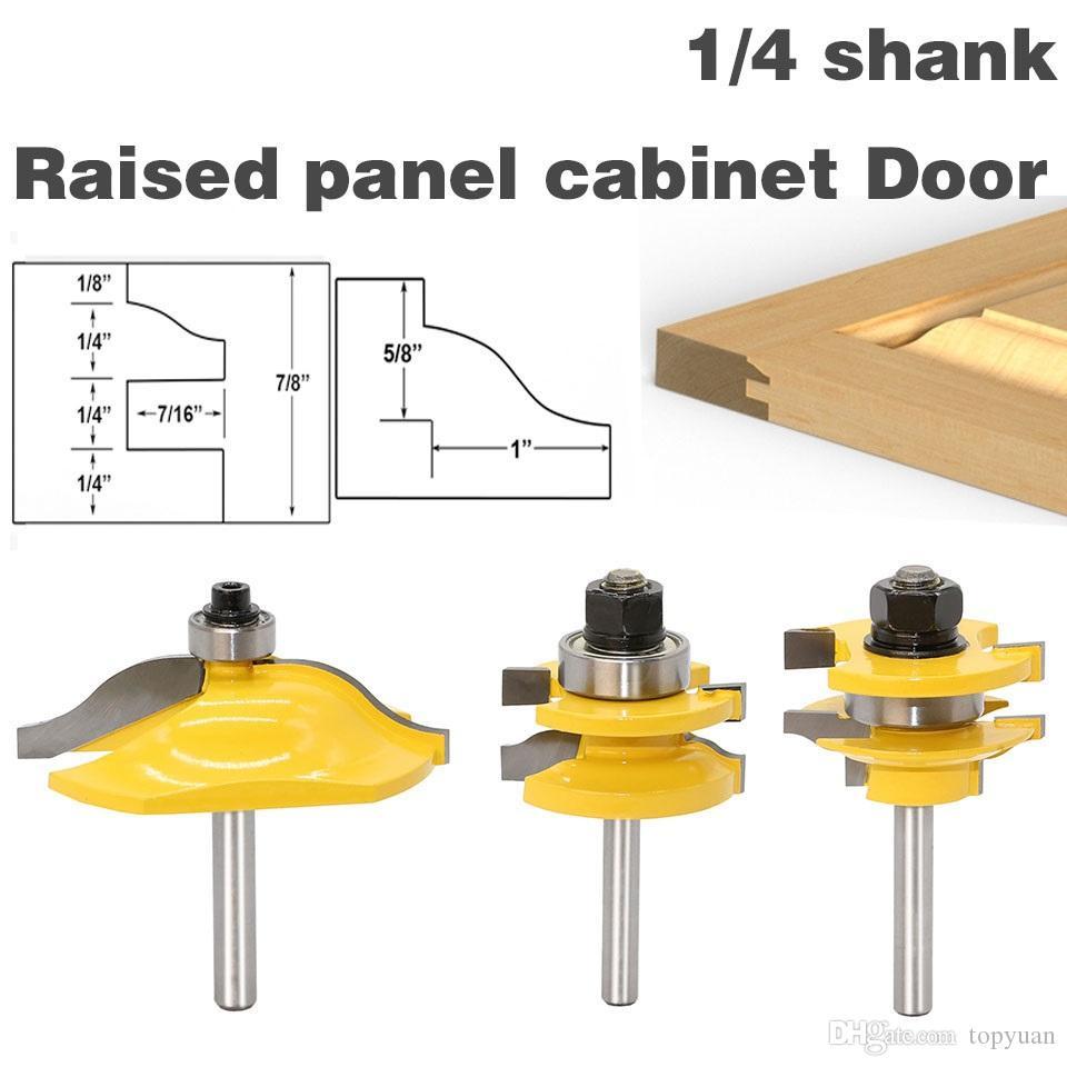 3PC1 / 4 Shank alta qualidade painel levantado porta do armário Router Bit Set - 3 Bit Ogee de tratamento de madeira cortador de madeira fresas