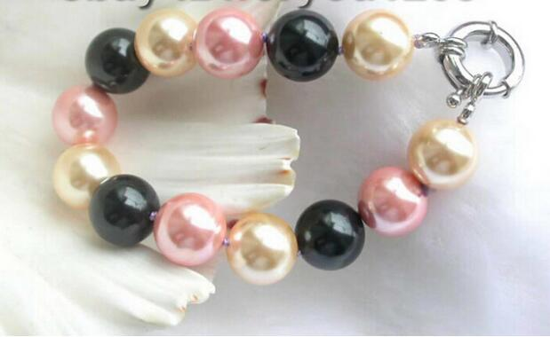 FREE SHIPPING + + + Multi-color Round Sea Shell Pearl Bracelet!