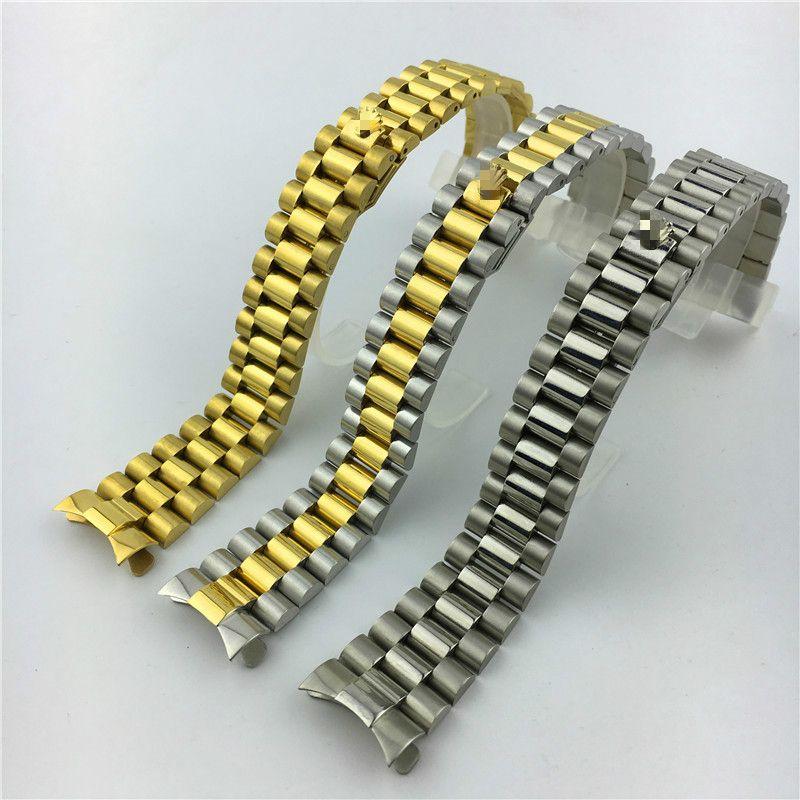 Тип журнала три бусины сплошной дайвинг ремешок для часов из нержавеющей стали аксессуары для часов президентская пряжка 20 мм мужское золото