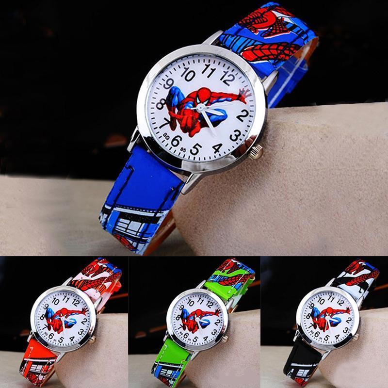 للأطفال كارتون ووتش سبايدرمان حزام جلد كوارتز ساعة أفضل هدية الطفل ساعة اليد للأطفال كارتون رجل gbbaf