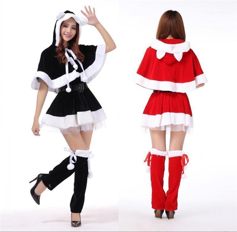 Womens costume partito del vestito operato Coplay Abbigliamento Moda Adolescente donne Cosplay vestiti di Natale Babbo Natale a tema