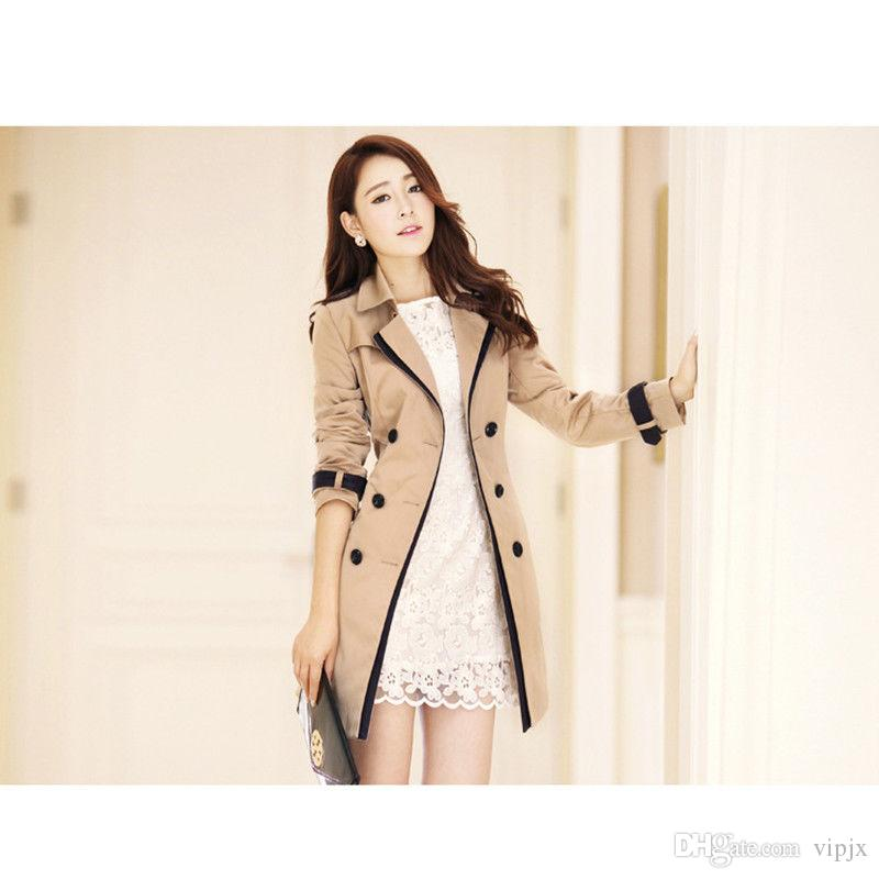Women Long Trench Coat Slim Fit Autumn Windbreaker With Belt Fashion Outwear NEW
