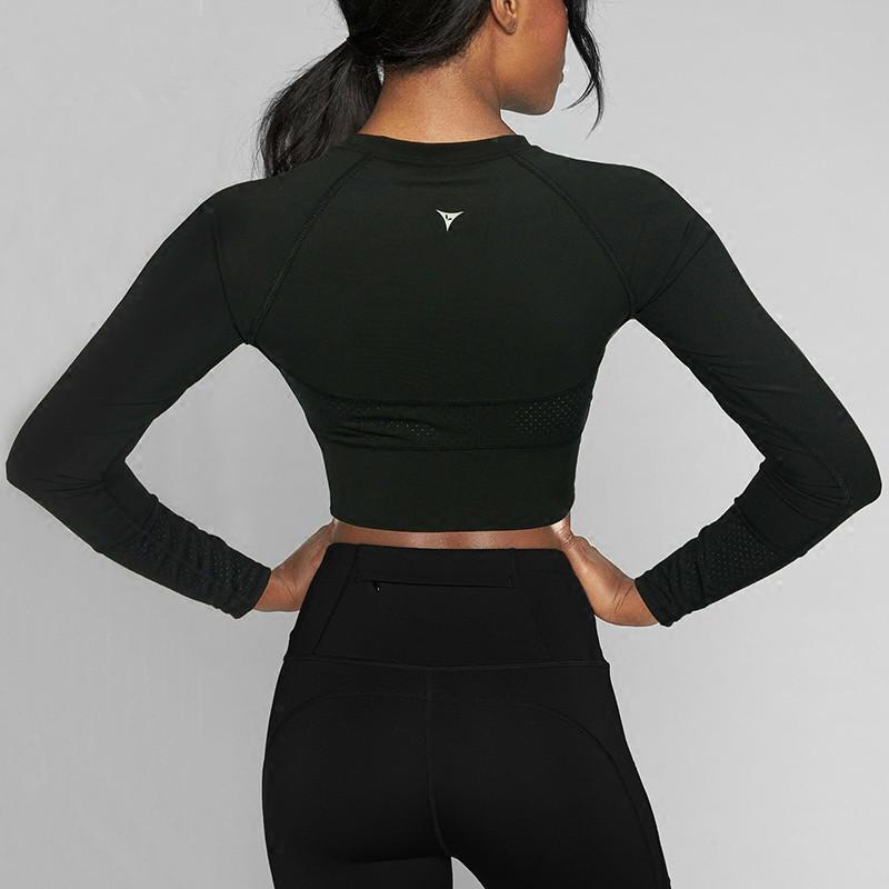 Yoga Top rembourré T-shirt manches longues Chemises Patchwork Gym Camouflage Noir Mesh Tops Crop Fitness Course Sport T-shirts femmes