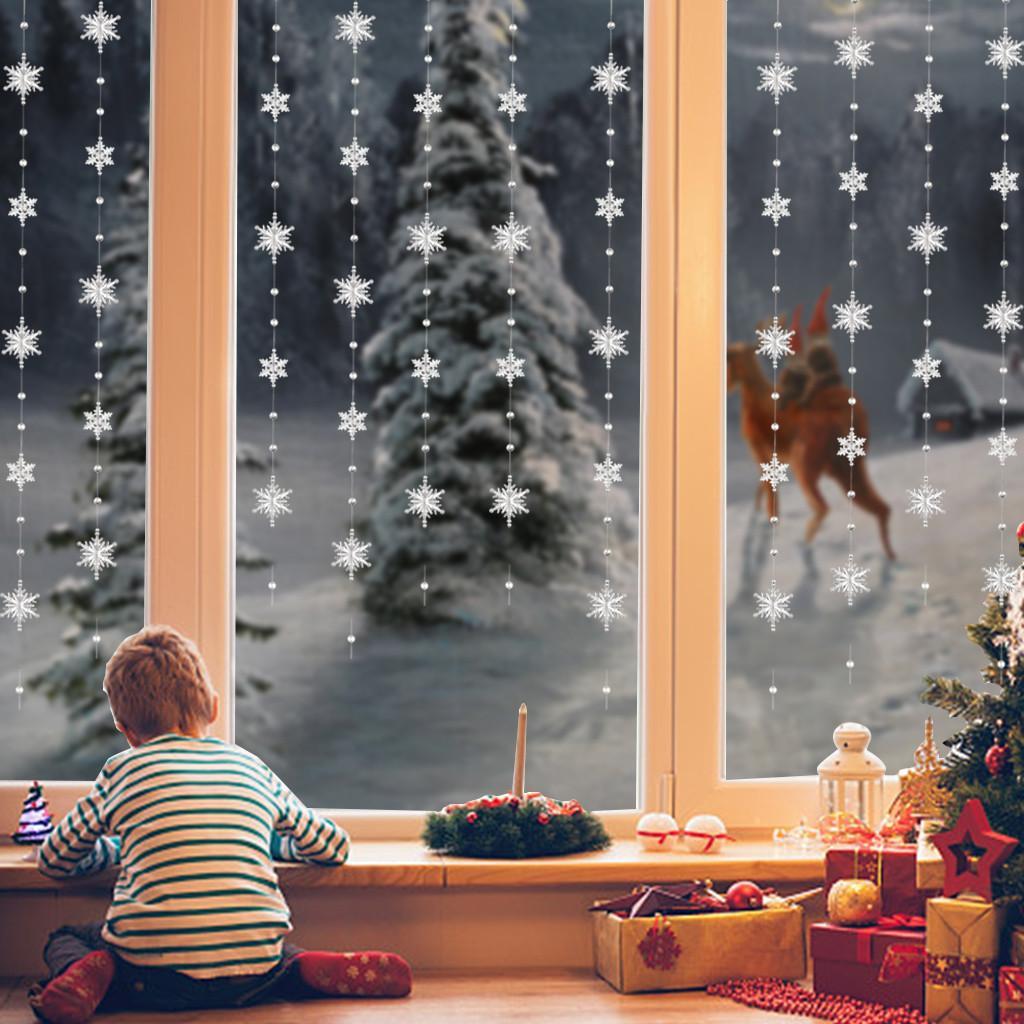 Décorations de Noël pour la maison flocon de neige Ornements Bricolage Perle Rideau décoratif en acrylique Flocon de cristal rideau de mariage Décor