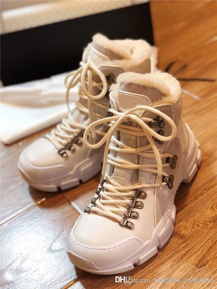 Frauen der Männer Turnschuhe Flashtrek mit Pelz, Wandern Sneaker mit Tough Gummisohle Plattform Martin-Schuhe, Das volle Spektrum der Schuhkarton