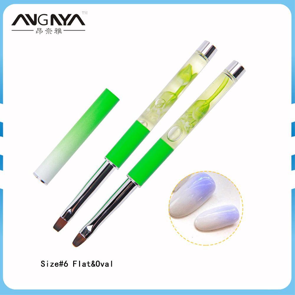 Atacado 10 Pcs Profissional Manicure 6 # UV Gel Escova Planta Verde oleosa Líquido Nail Art Pintura Desenho Escova Ferramentas de Fototerapia