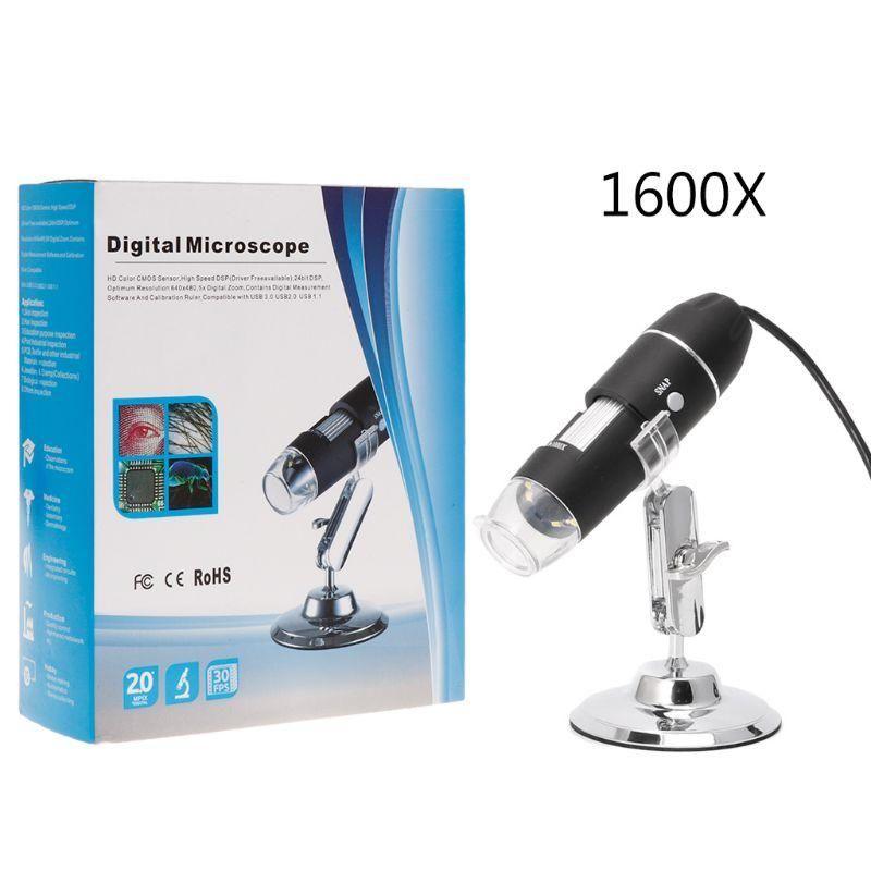 Fotocamera USB 500X 1000X 1600X 8 LED Digital Microscope Microscopio Magnifier elettronico stereo USB endoscopio con supporto in metallo