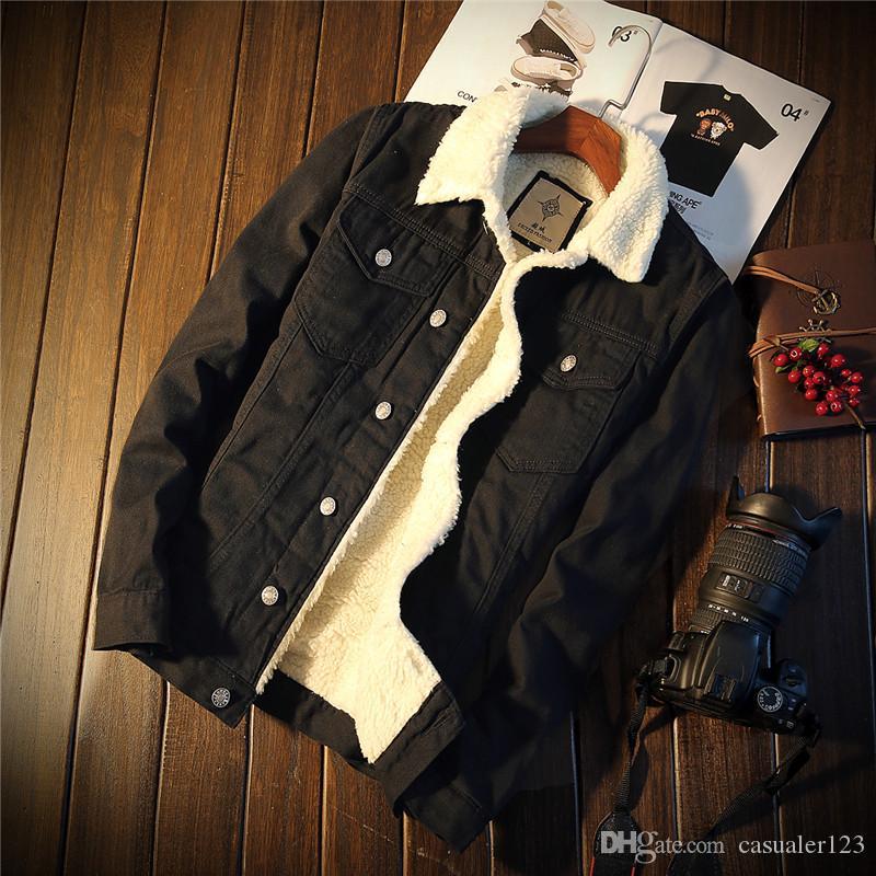 2021 Neue Mode Winter Herren Samt Baumwolle Denim Jacke Männliche Harley Dicke Warme gefütterte Fleece Jeans Jacken Schwarz Slim Jeans Mantel Top 3XL VHKO