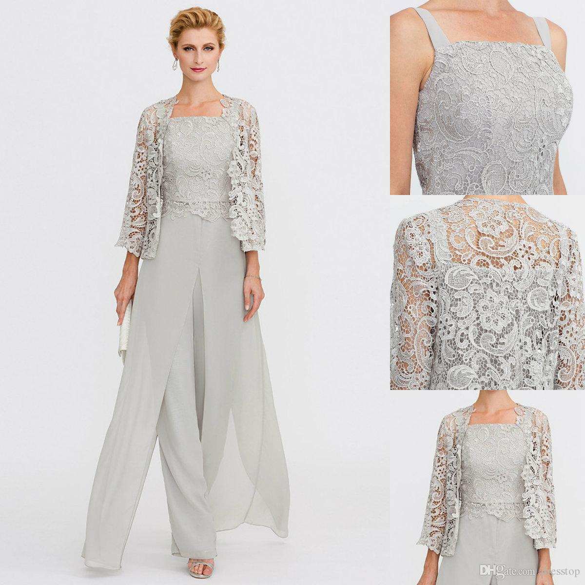 Mother of Bride Dresses 2019 Pantsuit Front Split Straps Ankle Length Silver Gray Chiffon Corded Lace 3 Pieces Outfits