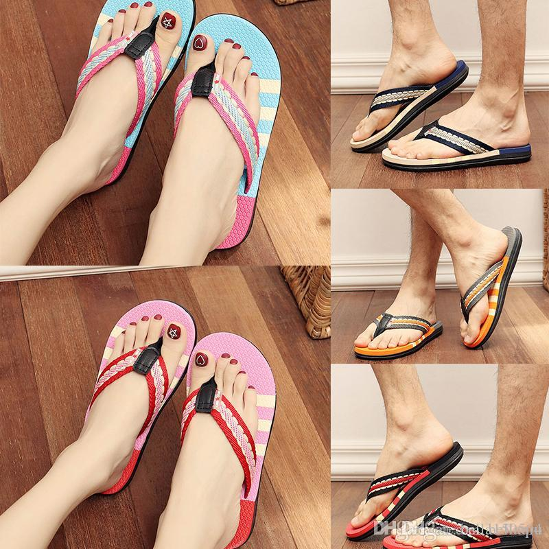 gute Qualität Männer Frauen Mädchen Sommer Outdoor-Streifen Flip Flops Schuhe Casual Sandalen Männer Licht Slipper Outdoor-Beach-Flipflops Größe 36-45