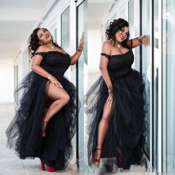 2020 Charming Black Plus Size Prom Dresses Spaghetti Tiered Ruffle High  Side Split Floor Length Evening Gowns Formal Dress Vestidos Short Prom  Dresses ...