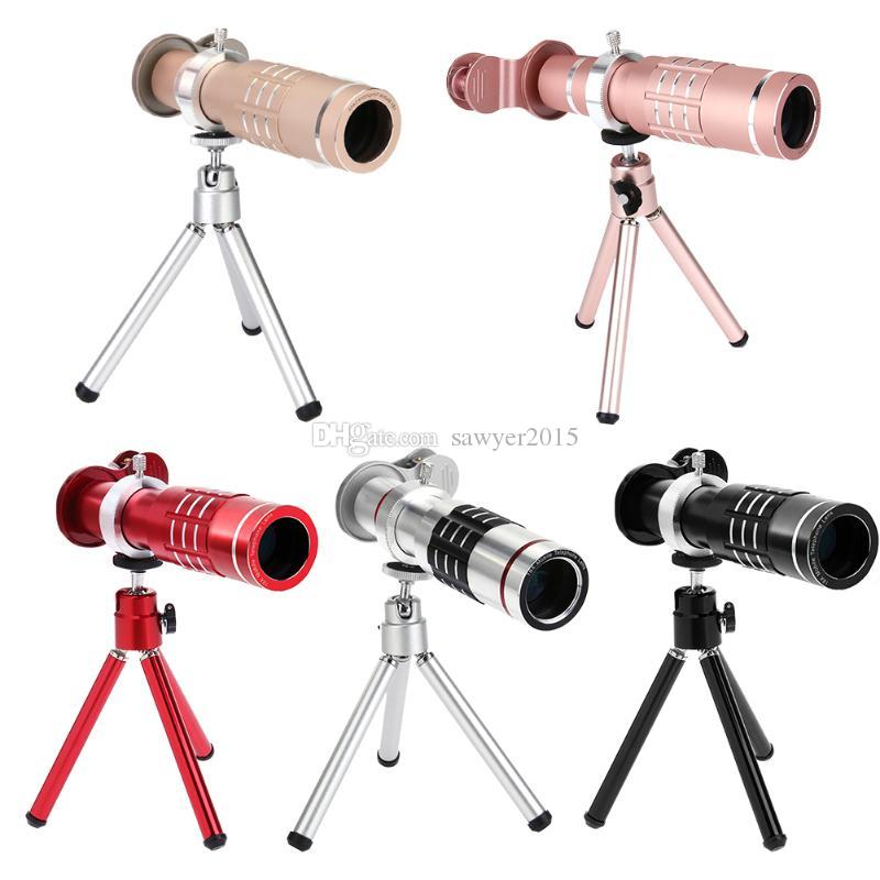 Universal Metal Clip-on 18X Zoom Optical Telescope Portable HD Phone Camera Telephoto Lens with Aluminum Tripod in retail box