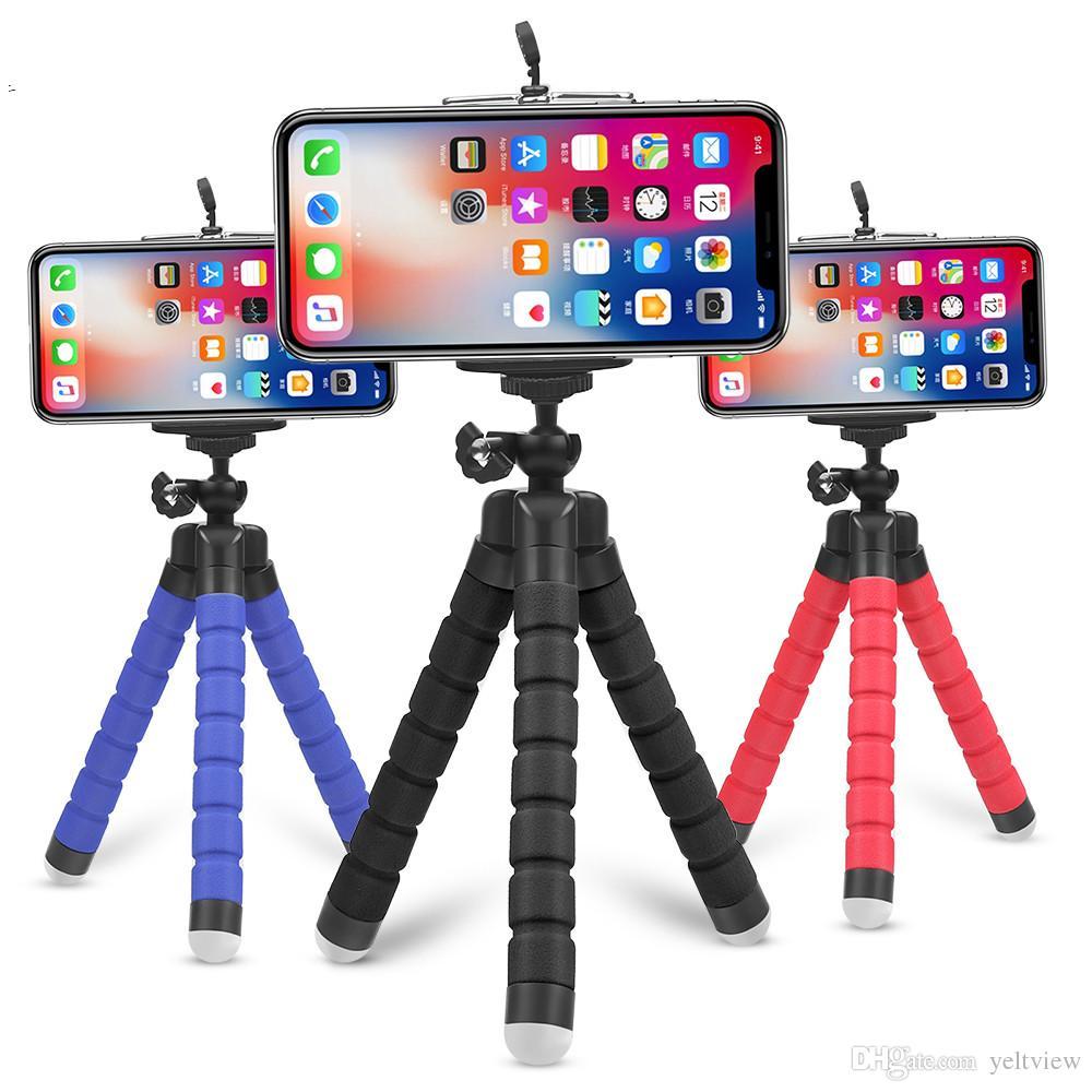 유연한 스폰지 낙지 삼각대 범용 전화 그립 홀더 아이폰 엑스에 대한 클립과 함께 카메라 스탠드 브래킷 Selfie Monopod 삼성 전자 화웨이