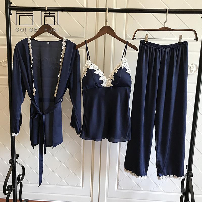 Satin Pajamas for Women Elegant 3Pieces Sleepwear Female Sexy Lace At All Seasons Silk Pajamas Set Coat+Vest+Pants 2019 Pijama Y19042803