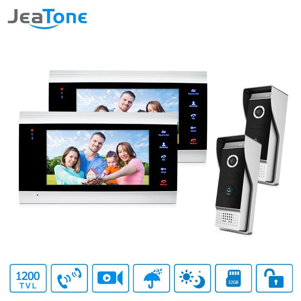 JeaTone Video Door Phone Intercom Doorbell Home Security System Touch Key LCD Monitor 2 Video Door Phone Cameras + 2 Recording Monitors