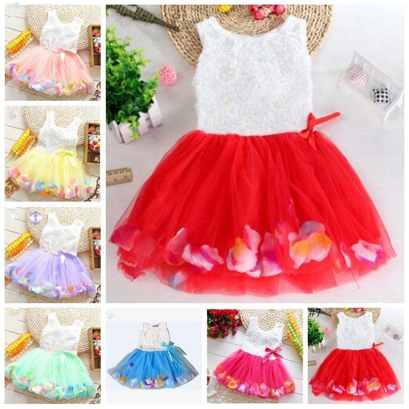 Telas bebés de la princesa vestido de flores chicas 3D se levantó la flor del bebé del vestido del tutú colorido pétalo burbuja vestido de encaje falda de baile viste TLZYQ656