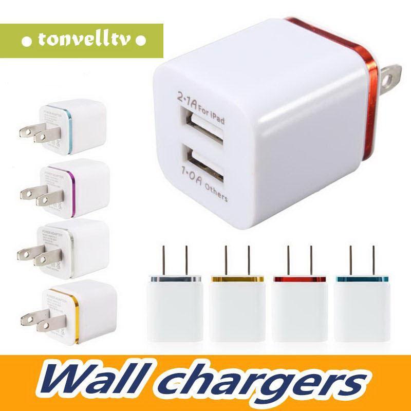 Plug Adapter AC poder carregador de parede 5V / 2.1A Dual USB US UE 2 portas iPhone Nokoko Carregador Para Samsung Huawei adaptador de carregamento