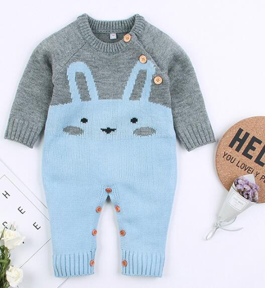 Baby Clothing Spring Autumn Sweater New Born Gray color Jumpsuits Sweater Baby Knit Rompers Rabbit Pattern Free Shipping