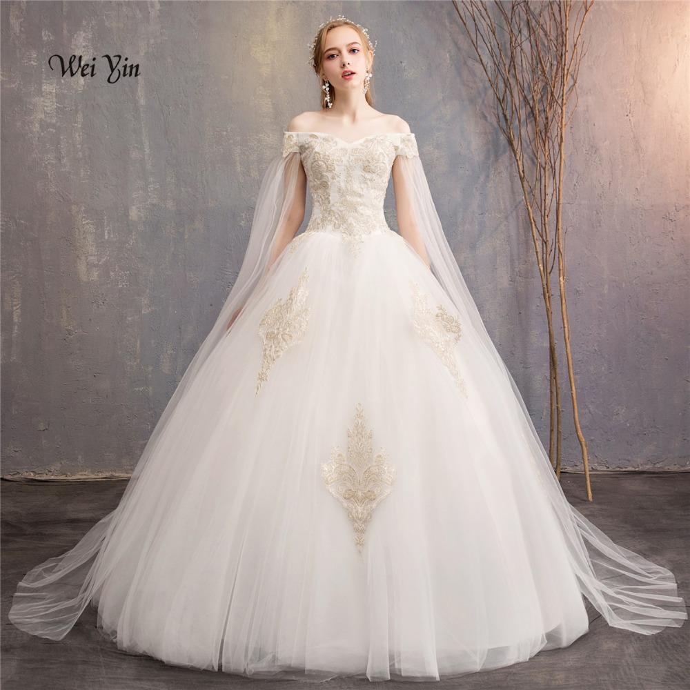 weiyin Appliques del merletto abito di sfera Abiti da sposa 2018 al largo della spalla maniche corte vestiti da cerimonia nuziale abiti WY988