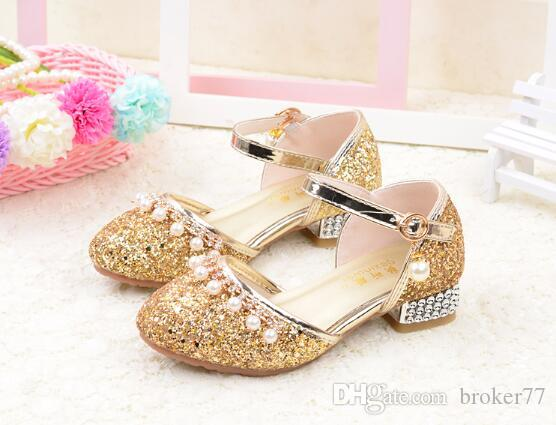 어린이 공주 황금빛 샌들 어린이 의류 여자 부드러운 하단 신발 라운드 낮은 뒤꿈치 드레스 파티 신발 핑크 크기 26-35 379