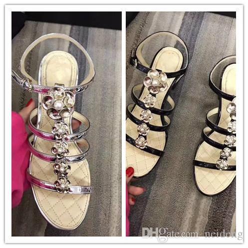 Venta caliente-Nueva Appival mujeres ladys flores de tacón bajo rebordear lados sandalias de diseño de cuero genuino
