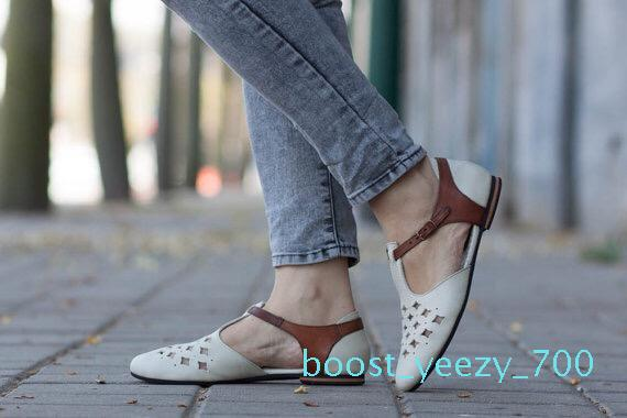 2019 Spring New évider Femmes Chaussures Chaussures plates en cuir bout pointu Casual Femme Mode Femme Taille Plus 43 b70