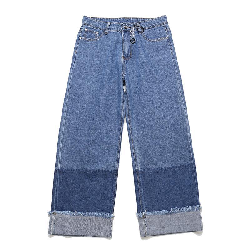 Новые широкие джинсы брюки мужчины и женщины Harajuku свободные японские ретро градиент цвет блока джинсовые брюки плюс размер хип-хоп брюки