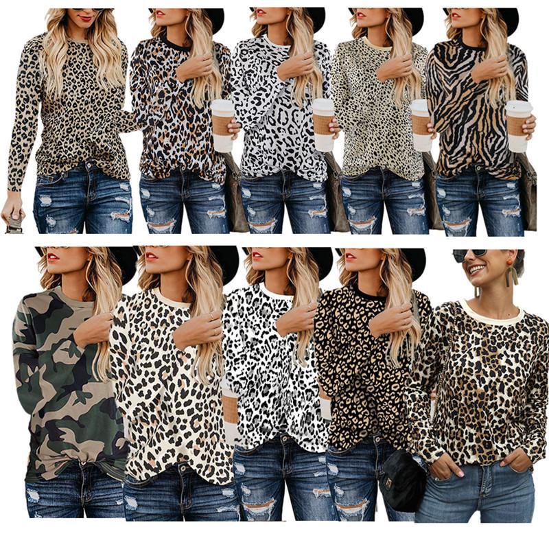 여성 T 셔츠 가을 스웨터 긴 소매 O 목 T 셔츠 패션 디자이너 운동복 캐주얼 후드 여자 톱 의류 DH 탑 인쇄 표범