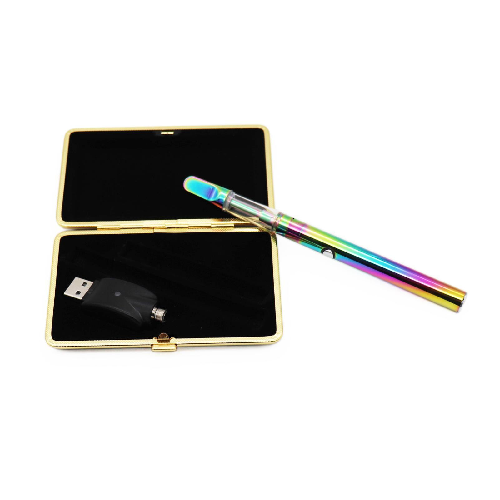U.S. Direct Shipping Rainbow Vape Pen Kit Kit Penna sigaretta elettronica 510 Cartuccia penna a cera filettata con caricabatterie da 400 mAh