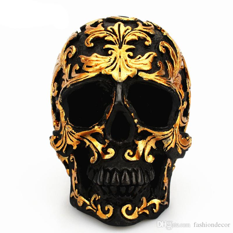 Resina Artesanía Cabeza de Cráneo Negro Talla de oro Decoración de Fiesta de Halloween Escultura del cráneo Adornos Decoración Del Hogar Accesorios
