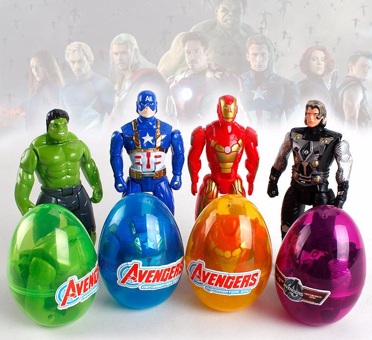 Compre Capitán Marvel De Dibujos Animados Juguetes Avenger Superhéroe Animado Huevo Juguete Figura Latina Hulk Iron Man Thor Deformación Twisted