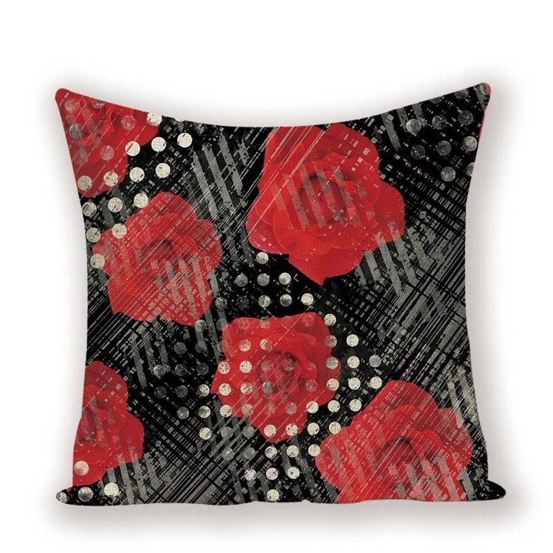 Cubiertas decorativas de la vendimia del amortiguador de la almohadilla de tiro planta de la flor Caso Decoración Negro Rojo Cojines Almohada Cubierta Armarios de la sala de estar