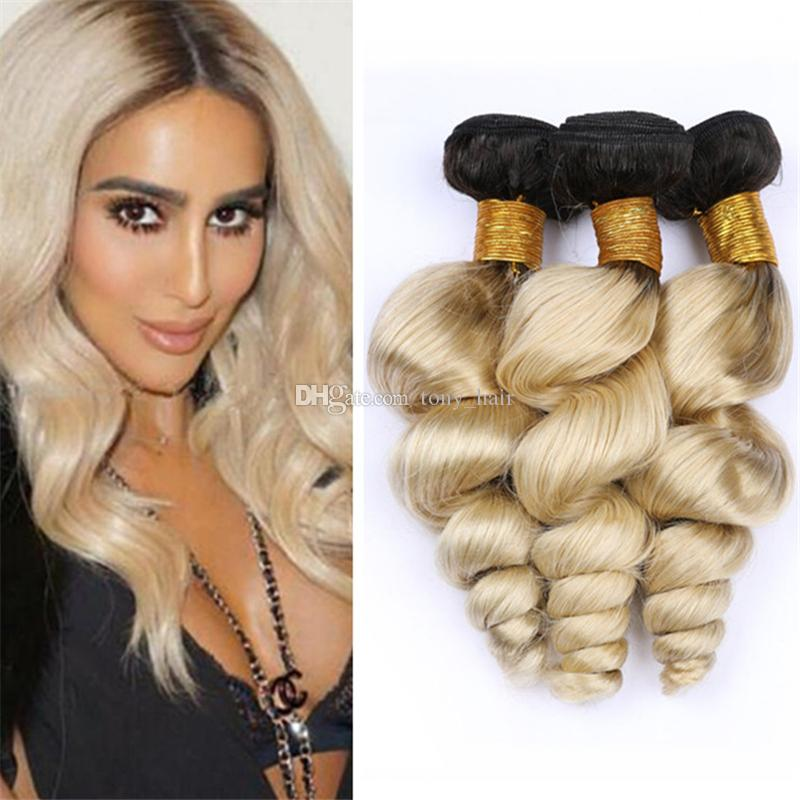 1B/613 Blonde Ombre Loose Wave Hair Bundles Deals Dark Roots Platinum Blonde Ombre Wavy Human Hair Weave Wefts Extensions 300g