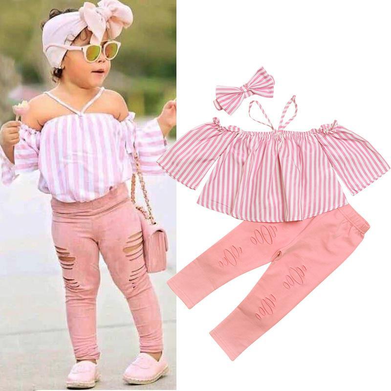 2020 Kinder Mädchen-Kleidung Sling rosa Streifen weg von der Schulter Tops Loch-lange Hosen-Stirnband-Outfits Sommer-Kind-Mädchen-Kleidung Set