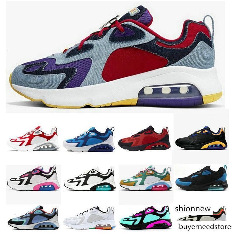 Uomini Designers Shoes 200 Mystic verde arcobaleno Triple Nero Marrone Blu Teal tensione viola Denim Womens 200S formatori esterni Sport Sneakers